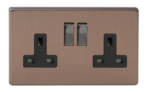 Varilight XDY5BS.BZ Screwless Brushed Bronze 2 Gang Double 13A Switched Plug Socket